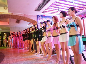 Line up of prostitutes at Emperor Sauna in Macau